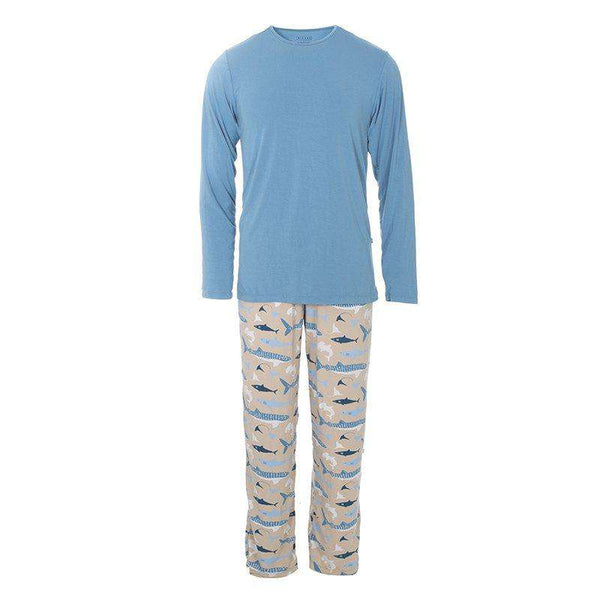 Kickee Pants | Men's Long Sleeve Pajama Set ~ Burlap Shark