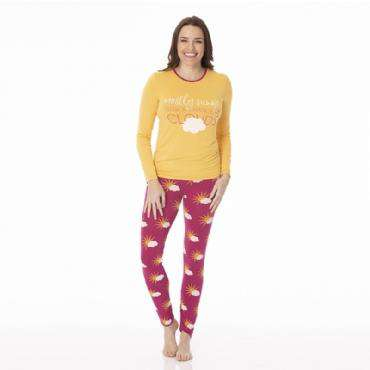 Kickee Pants | Print Women's Long Sleeve Fitted Pajama Set ~ Berry Mostly Sunny