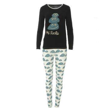 Kickee Pants | Print Women's Long Sleeve Fitted Pajama Set ~ Midnight Pets Rock