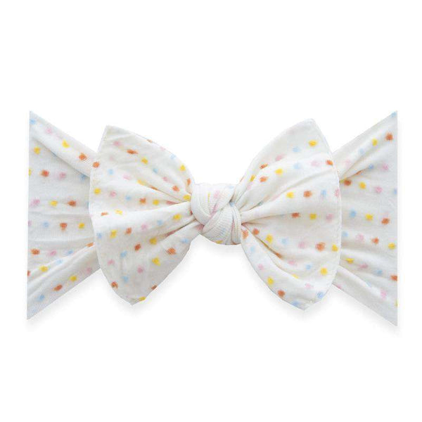 Baby Bling Bows | Patterned Knot ~ Ivory Rainbow Dot LE