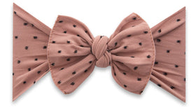 Baby Bling Bows | Patterned Sabby Knot ~ Putty W Black Dot