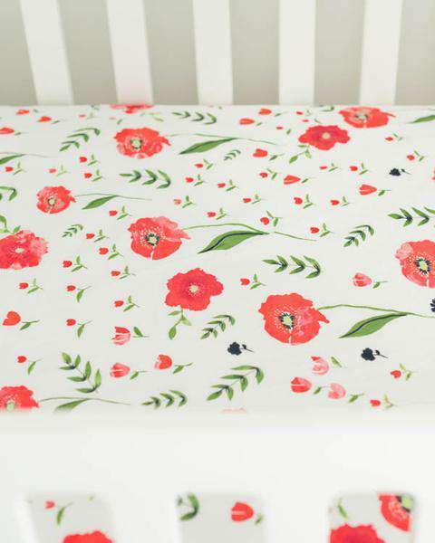 Little Unicorn | Cotton Muslin Crib Sheet ~ Summer Poppy