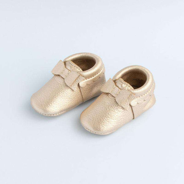 Freshly Picked | Bow Mini Sole Moccs ~ Platinum Gold