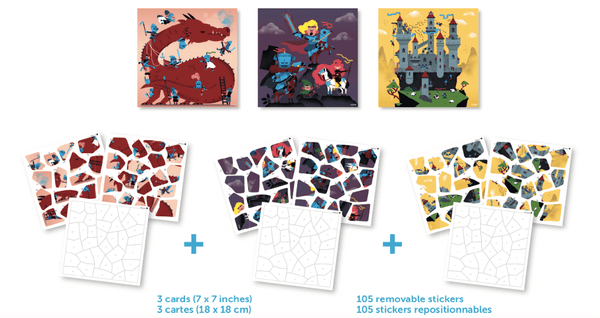 Poppik | 3 Puzzles + 35 Stickers ~ Dragon & Knights