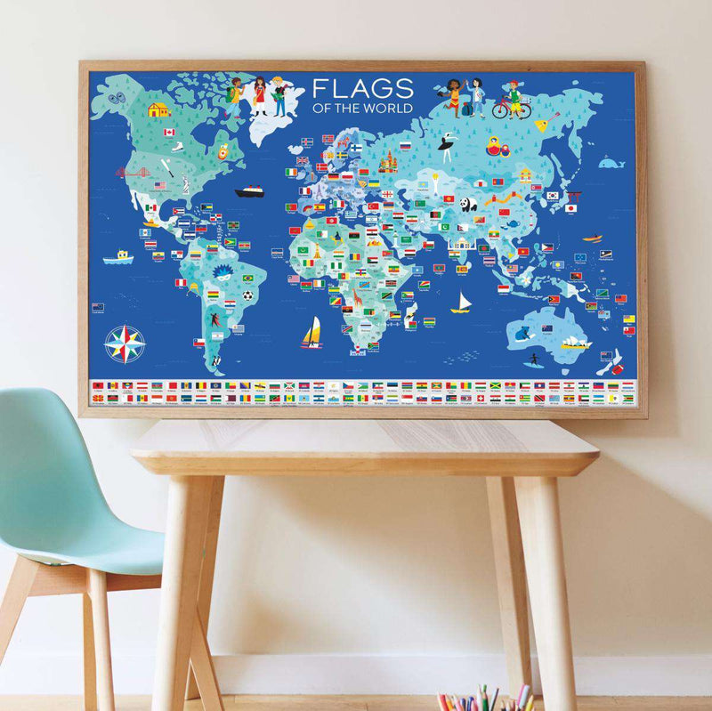 Poppik | Giant Poster + 200 Stickers ~ Flags Of The World (7 Years +)