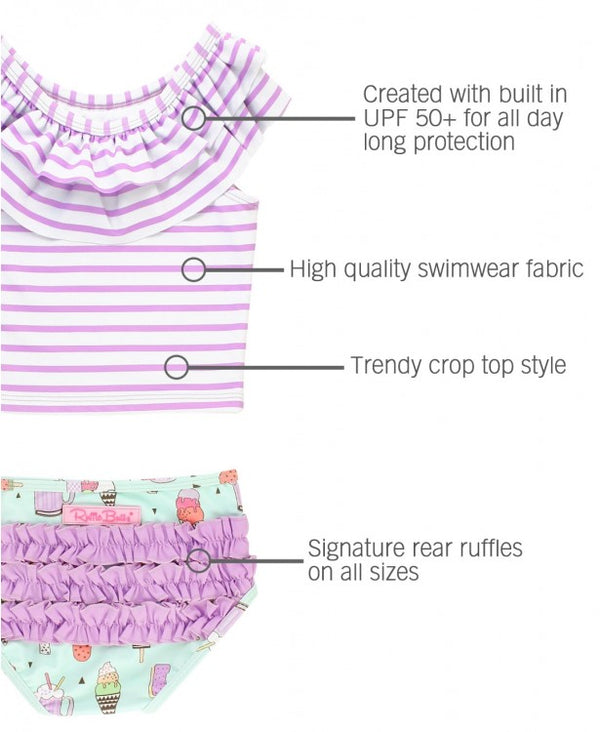 RuffleButts | Ruffled Tankini ~ Anything is Possible Stripe