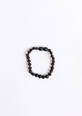 CanyonLeaf Raw Black Amber + Shungite | Children's Anklet • Bracelet