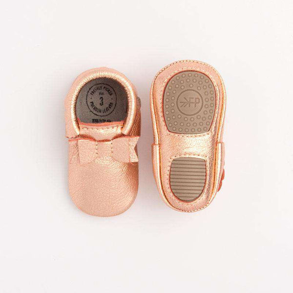 Freshly Picked | Bow Mini Sole Moccs ~ Rose Gold