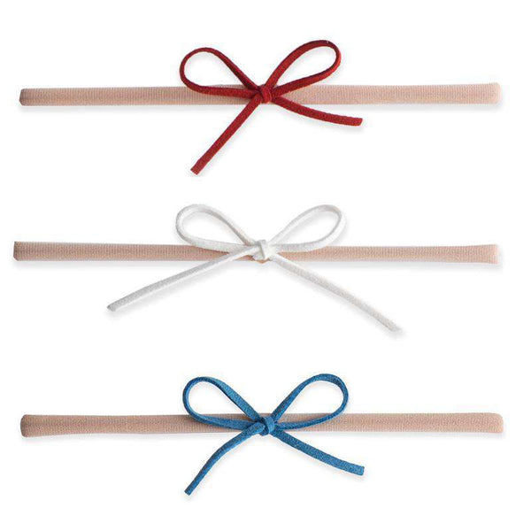 Baby Bling Bows |  3-pk Suede Cord Bow Red / White / Denim