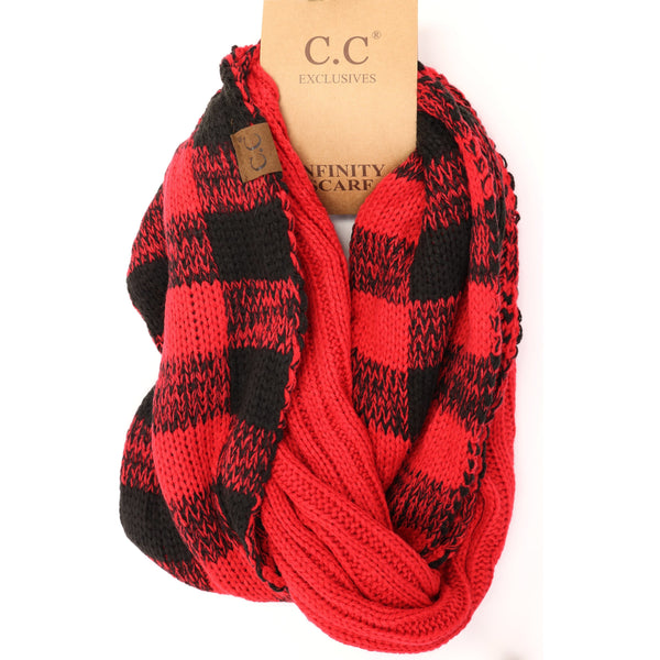 CC Beanie | Adult Knit Infinity Scarf ~ Buffalo Check