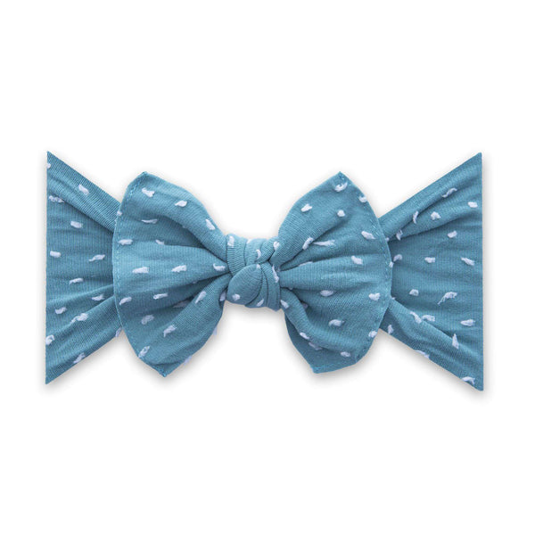 Baby Bling Bows |  Patterned Shabby Knot ~ Teal Dot