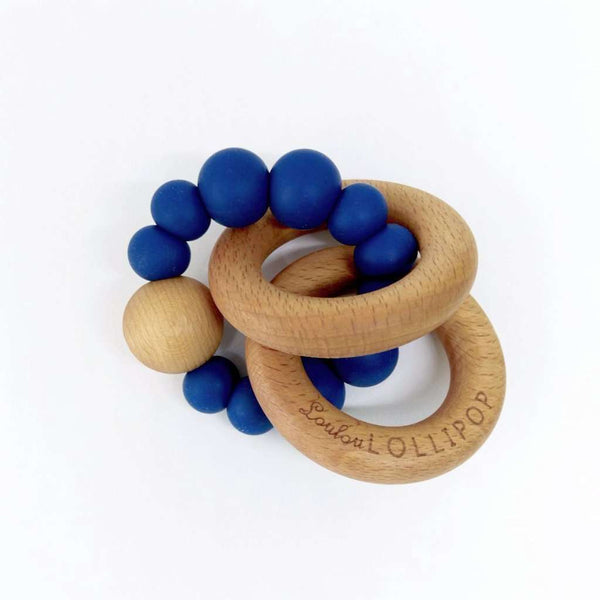 Loulou Lollipop | RATTLE Bubble Silicone Wood Teether ~ Sapphire Blue