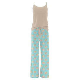Kickee Pants Women's Cami and Print Lounge Pants Pajama Set ~ Summer Sky Pancakes