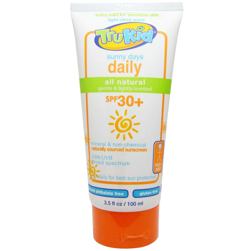 TruKid Sunny Days Daily, Mineral Sunscreen SPF 30, broad spectrum, Light Citrus Scent 3.5oz