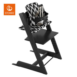Stokke Tripp Trapp High Chair Set W/ Cushion | Black / Black White Chevron