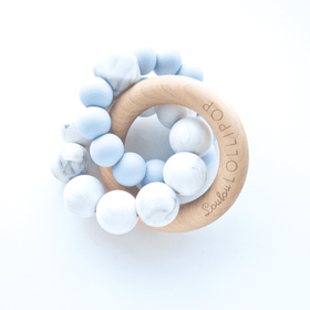 Loulou Lollipop | TRINITY Bubble Silicone Wood Teether ~ Baby Blue