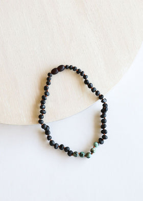 CanyonLeaf Raw Black Amber + Turquoise Jasper Children's Necklace