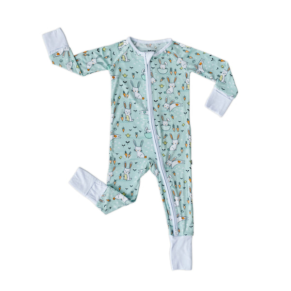 Little Sleepies - Mint Bunnies Bamboo Viscose Convertible Romper/Sleeper