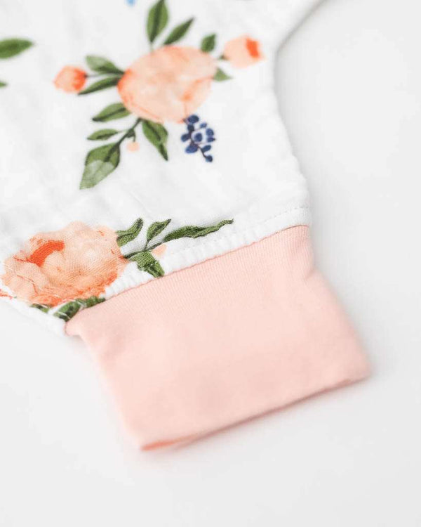 Little Unicorn | Cotton Muslin Sleep Romper ~ Watercolor Roses