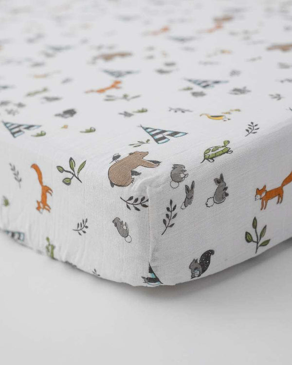 Little Unicorn | Cotton Muslin Crib Sheet ~ Forest Friends