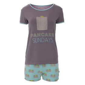 Kickee Pants Women's Short Sleeve Graphic Tee Fitted Pajama Set with Shorts ~ Summer Sky Pancakes