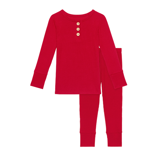 Posh Peanut | Long Sleeve Henley Loungewear ~ Ribbed Crimson