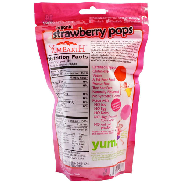 YumEarth | Organic Pops 14 Ct ~ Strawberry Smash