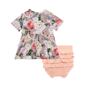 Posh Peanut | Short Sleeve Peplum Top & Bloomer Set ~ Cassie