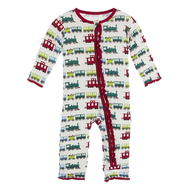 Kickee Pants Print Muffin Ruffle Coverall With Zipper | Natural Toy Train