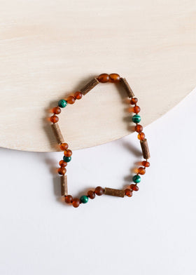 CanyonLeaf - Adult: Hazelwood | Malachite + Raw Cognac Amber Necklace
