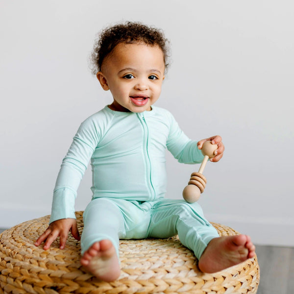 Little Sleepies - Aquamarine Bamboo Viscose Convertible Romper/Sleeper