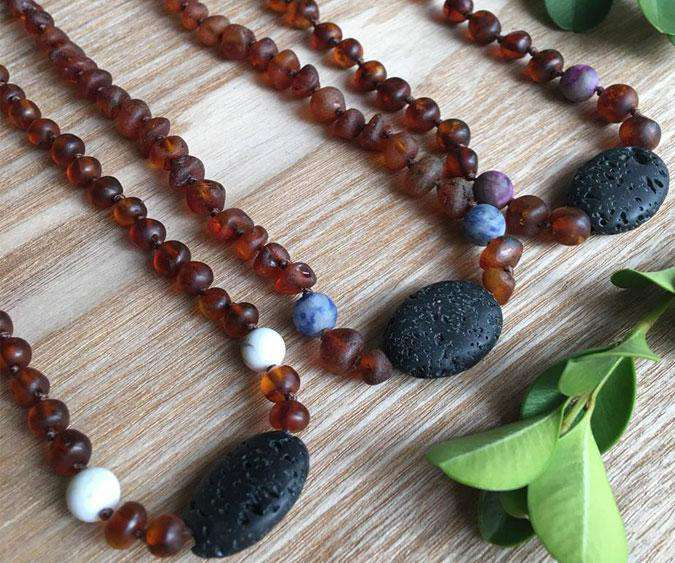 Healing Hazel | AROMA AMBER adult necklace ~ RAW Cognac Matte White Howlite