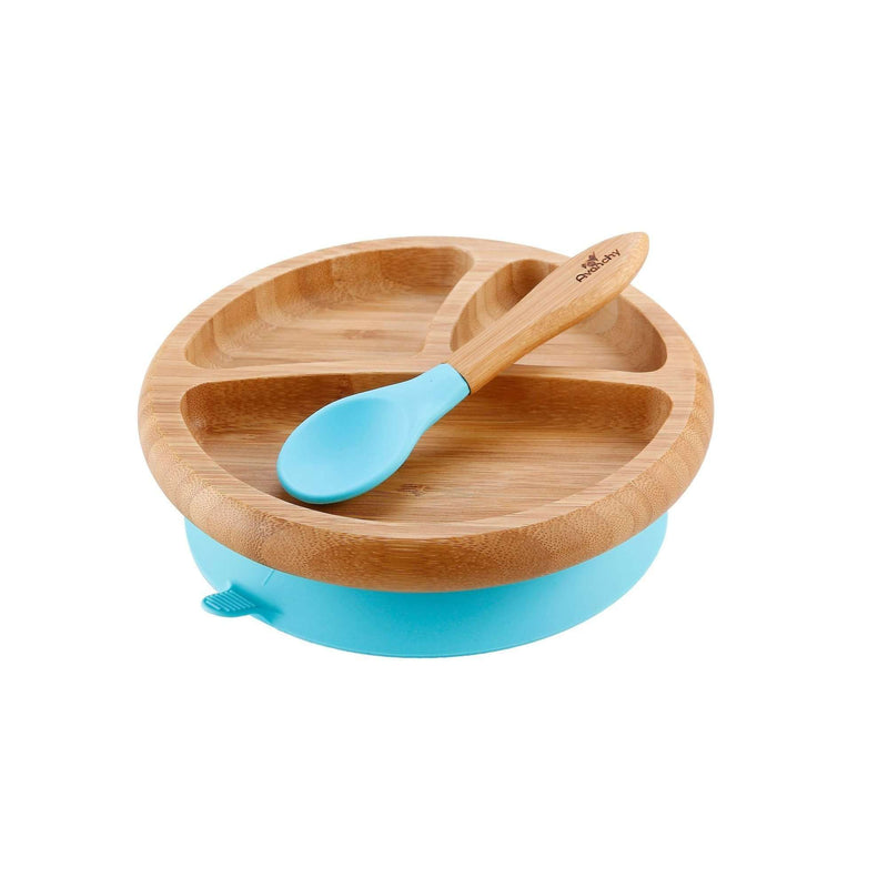 Avanchy Bamboo Baby Stay Put Suction Plate + Spoon | Blue