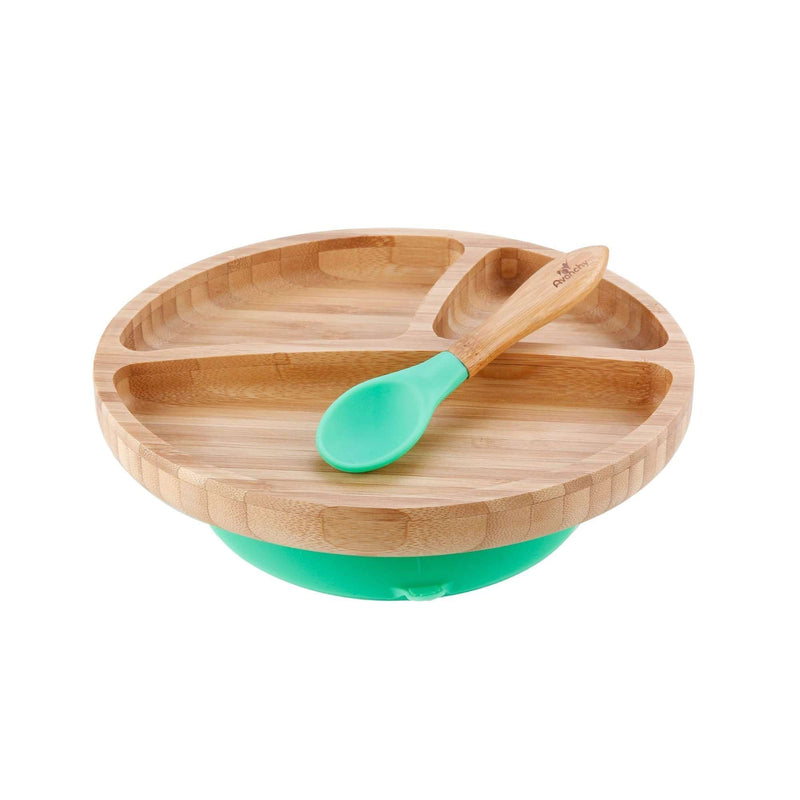 Avanchy Bamboo Stay Put Suction Toddler Plate + Spoon | Green