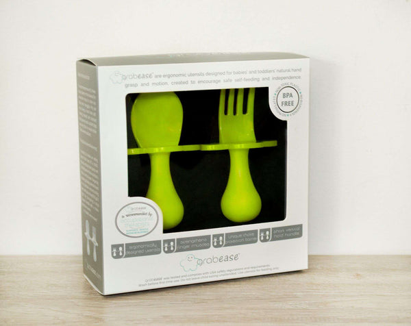 Grabease | First Self Feeding Utensil Set ~ Green