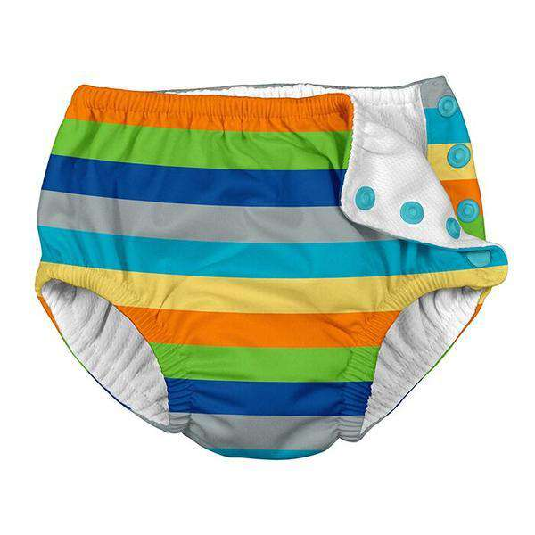 I Play | Snap Reusable Swim Diaper ~ Gray Mulit Stripe