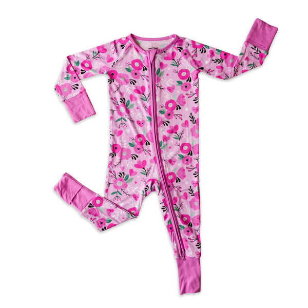 Little Sleepies - Sweetheart Floral bamboo viscose convertible romper/sleeper