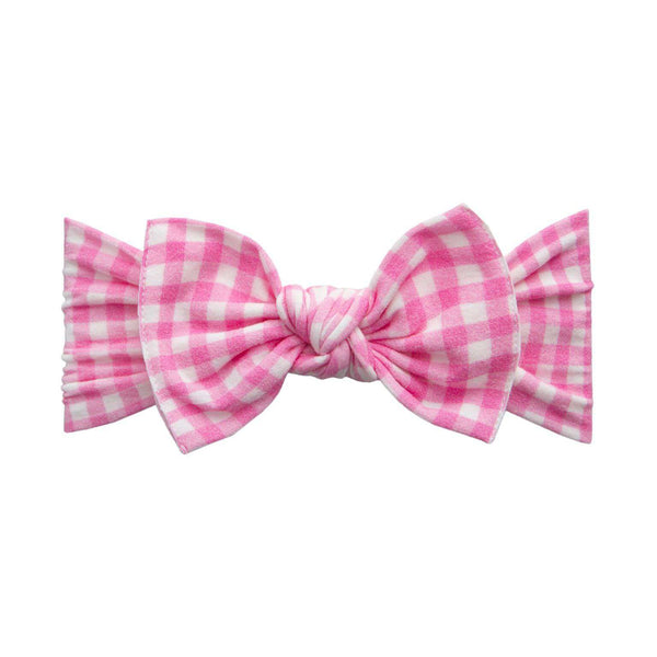 Baby Bling Bows | Printed Knot Headband ~ Pink Check