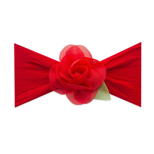 Baby Bling Bows |  Small Rosette Leaf Headband ~ Cherry