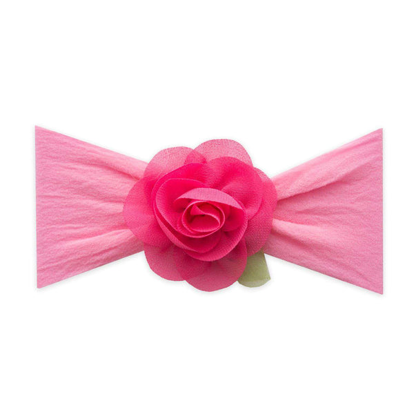 Baby Bling Bows |  Small Rosette Leaf Headband ~ Hot Pink