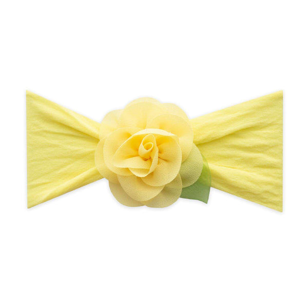 Baby Bling Bows |  Small Rosette Leaf Headband ~ Lemon