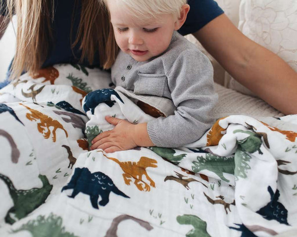 Little Unicorn | Big Kid Cotton Muslin Quilt ~ Dino Friends