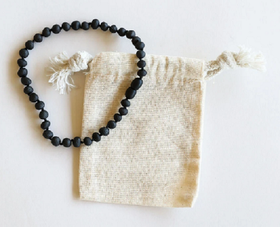 CanyonLeaf Raw Black Amber Children's  Necklace