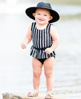 RuffleButts | One Piece Skirted ~ Black & White Stripe