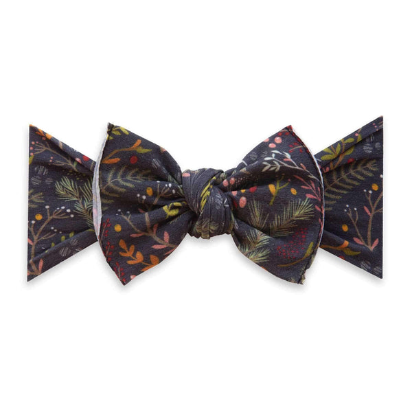 Baby Bling Bows | Holiday Collection Printed Knot ~ Black Pine
