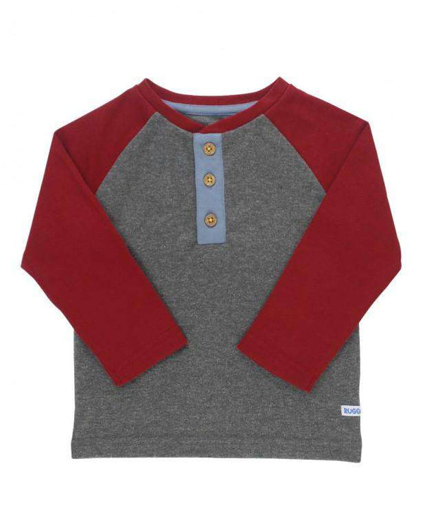 RuggedButts ~ Cranberry & Gray Raglan Henley