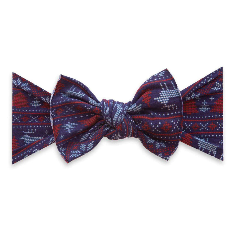 Baby Bling Bows | Holiday Collection Printed Knot ~ Blue Fairisle