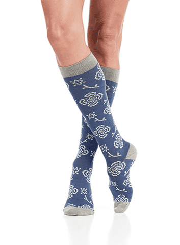 Women's Compression Knee-Highs | Blue & Charcoal (Cotton)
