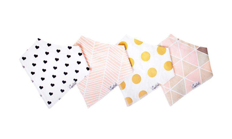 Copper Pearl | Modern Bandana Bibs 4 Pack ~ Blush