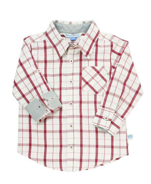 RuggedButts ~ Cranberry Windowpane Button Down Shirt